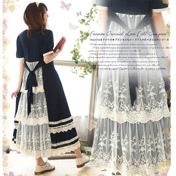 Yaz mavi uzun maxi dress patchwork dantel kısa kollu pamuk japon mori kız stil günlük elbiseler