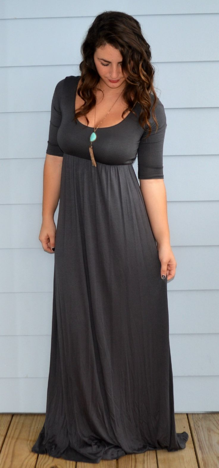 this another one of those dresses I love and the color of it is unique because there aren't really a lot of dress this color.: Grey Maxi Dresses, Long Summer Dress, Long Sleeve Maxi Dress, Quarter Sleeve, Long Dresses Casual Maxi, Dresses Skirts, Grey