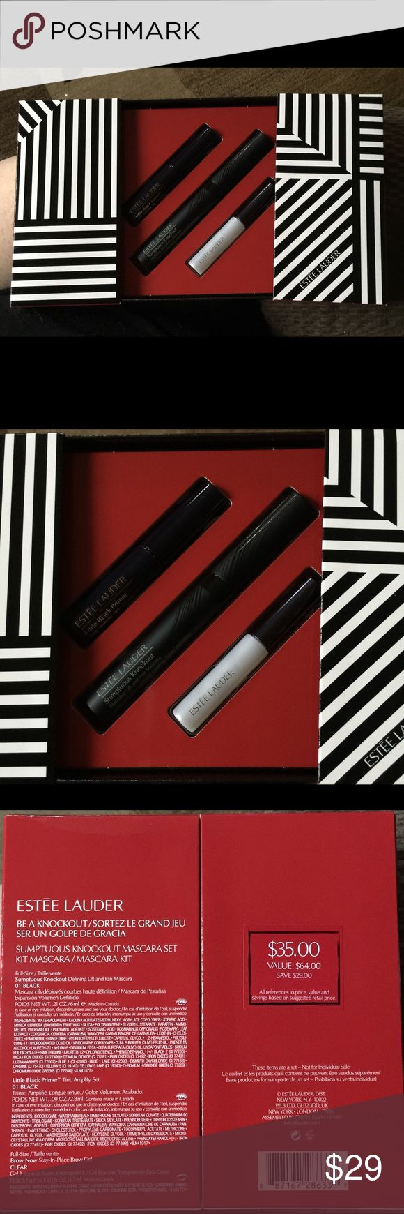 🎉HP 1/19!🎉Ester Lauder Be A Knockout Mascara Set BNIB, 100% authentic! A fabulous trio for long lashes and beautiful brows.  A $64 value!  This special value collection includes: •Full size Sumptuous Knockout Defining Lift and Fan Mascara (0.2 oz) •Free gift deluxe travel size Brow Now Stay-In-Place Brow Gel •Free gift deluxe travel size Little Black Primer Estee Lauder Makeup Mascara