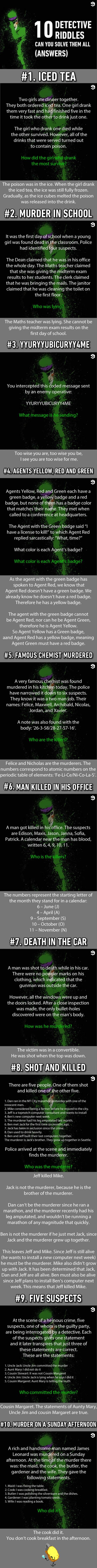 Answer: 10 detective riddles solve them if you can