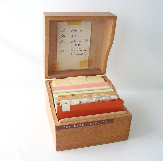 Vintage Wood Box Index Card File Organizer Address Holder