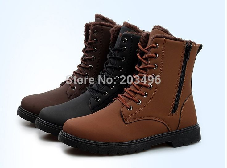 FREE SHIPPING Faux Wool Warm Men's Winter Snow Boots Martin Shoes SIZE 39-45