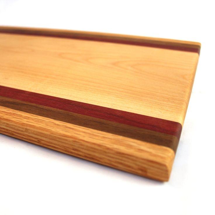 wood stripe cutting board exotic wood chopping block wedding gift appetizer serving tray