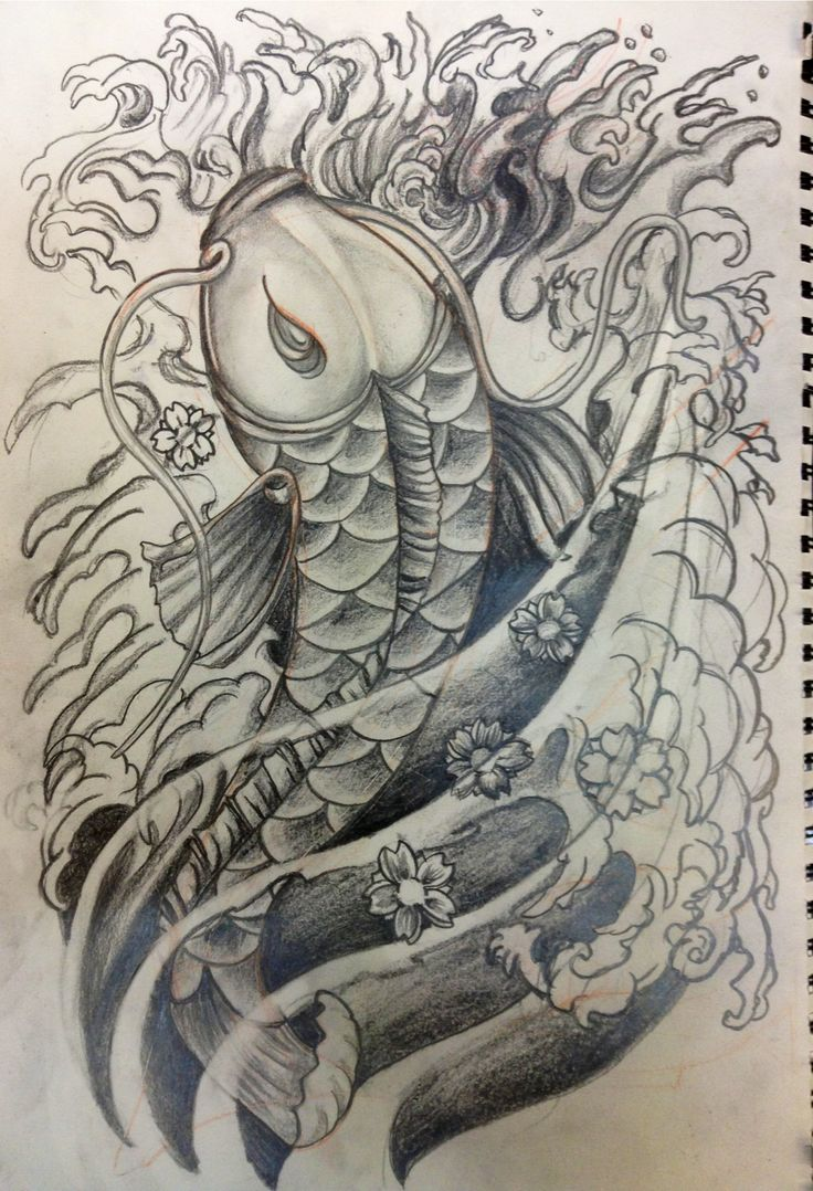 Japanese koi fish waves cherry blossoms black and grey for Grey koi fish