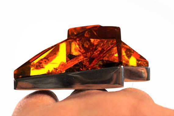 Vintage Silver Baltic Amber ring 45g
