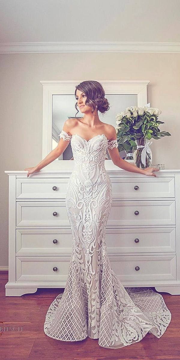 sweetheart lace sheath wedding dresses with embroidered detailing steven khalil