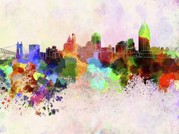 Cincinnati skyline in watercolor background Art Print