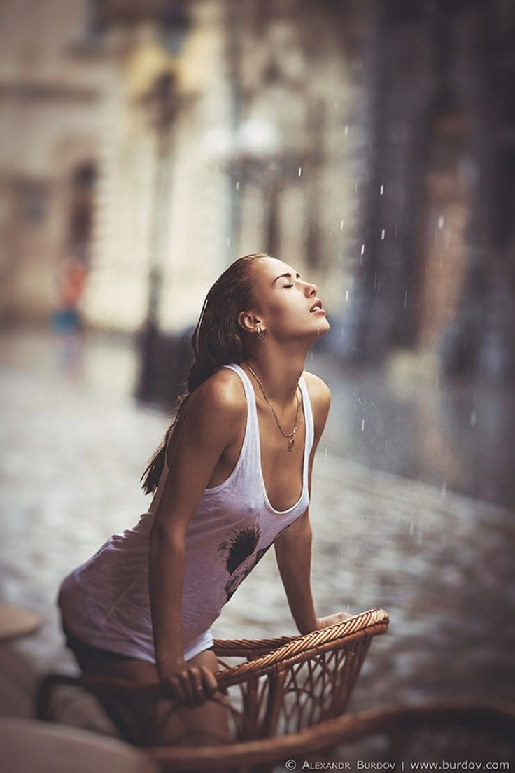 hot women soaked in the rain