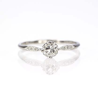 A little more delicate version of the minimalist ring. Leigh Jay Nacht Inc. - Replica Edwardian Engagement Ring - 3312-01
