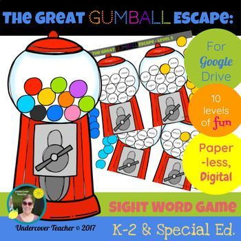This is the digital, paperless version of The Great Gumball Escape Sight Word Game for Google Drive/Docs. Great for K-2 readers who use a tablet or Chrome book with access to Google Drive/Docs. Using this resource will require internet access for students or