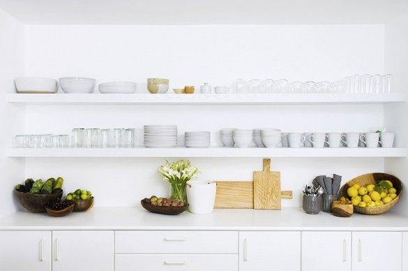 Styled white kitchen shelves
