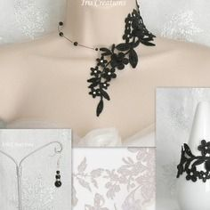 Parure mariage amalia dentelle noire perles et strass 3 pièces