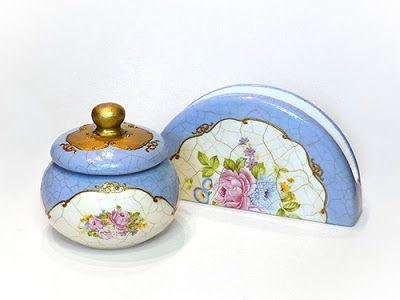 Pentart dekor: Porcelán-hatás finomvonalas repesztőlakkal