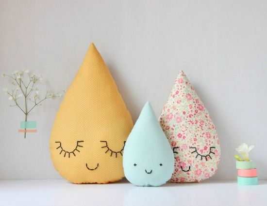 Beautiful raindrop cushions for kids