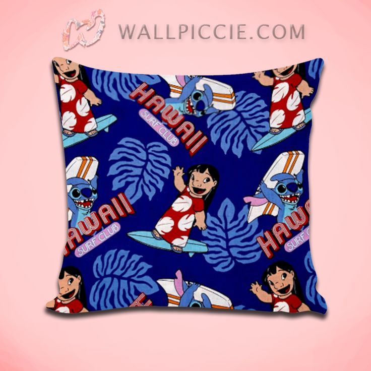 Lilo Stitch Hawaii Pattern Decorative Pillow Cover Dengan