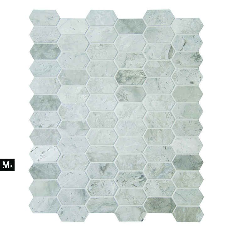 MUDTILE floor or wall mosaic tile / pattern name: Rock / color: Lead (grays) / 1 x 2 in / Distributed by ciot.com (Canada) mudtile.com
