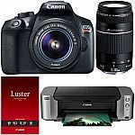 Canon EOS Rebel T6 DSLR Camera with 18-55mm & 75-300mm Lenses  Pro 100 Printer $349 After Rebate #LavaHot http://www.lavahotdeals.com/us/cheap/canon-eos-rebel-t6-dslr-camera-18-55mm/187899?utm_source=pinterest&utm_medium=rss&utm_campaign=at_lavahotdealsus