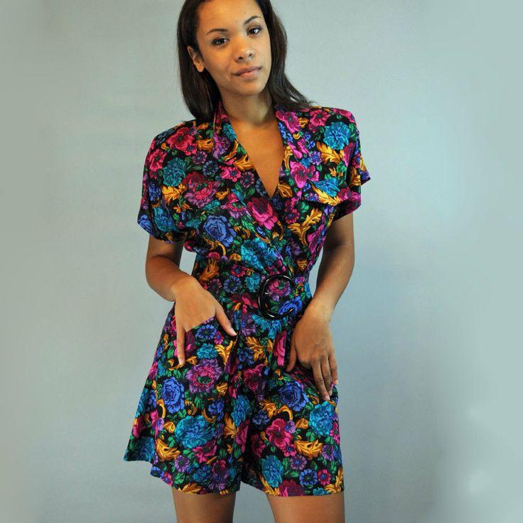 80s Womens Romper Shorts Floral Vintage Romper Dolman Sleeves Womens Romper Onsie Playsuit S