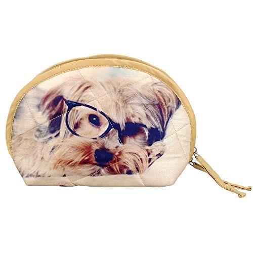 Digital Dog Printed Dupion Faux Silk Womens Wristlet Bag