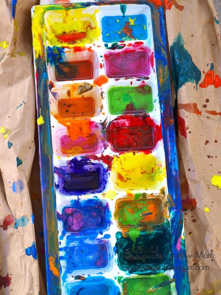 Colorful Ice Cube Painting: place paint(approx 1 tsp) in ice cube trays, fill with water and mix thoroughly, freeze with popsicle stick.  When frozen....enjoy the mess!!