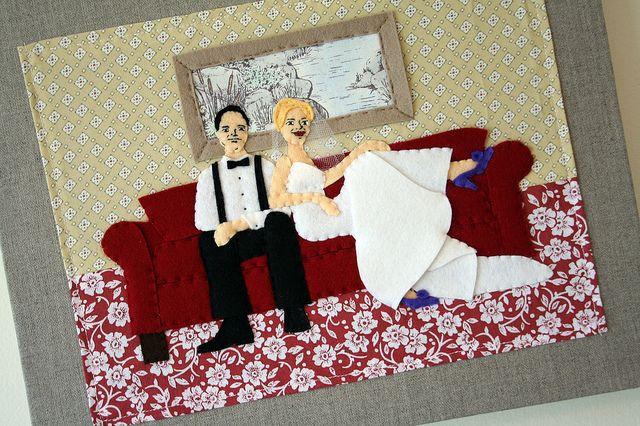wedding gift idea - Appliqued Felt on Photo Album Cover