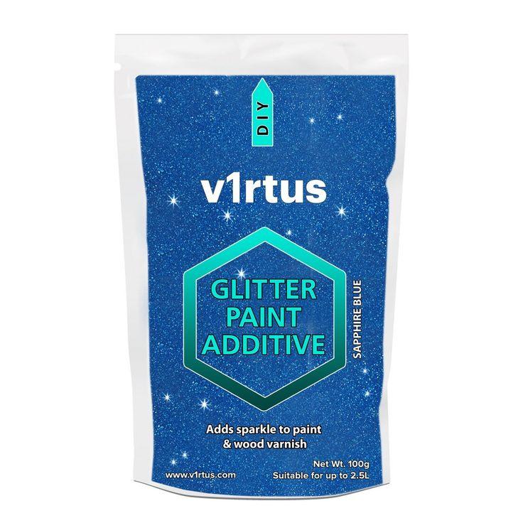 v1rtus Sapphire Blue Glitter Paint Crystals Additive 100g / 3.5oz Emulsion Walls Ceilings