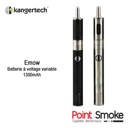 Point Smoke cigarette électronique - Emow Kangertech - Batterie voltage variable - Ce nouveau kit de cigarette électronique fabriqué par Kanger vient monter sur le podium des meilleurs kits de cigarettes électroniques. Une batterie à voltage variable de 1300 mAh accompagné du tout dernier clearomiseur AeroTank EMOW à volume d'entrée d'air réglable (Air Flow) - #pointsmoke #batterie #emow #kangertech #kanger #emowkanger #ecig #cigaretteelectronique #electroniccigaret