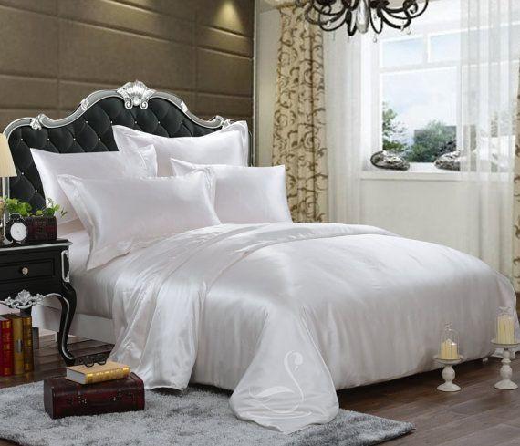 Simple White Silk Bedding Set, Romantic Bedding, Duvet Cover Set, Fitted  Sheet,