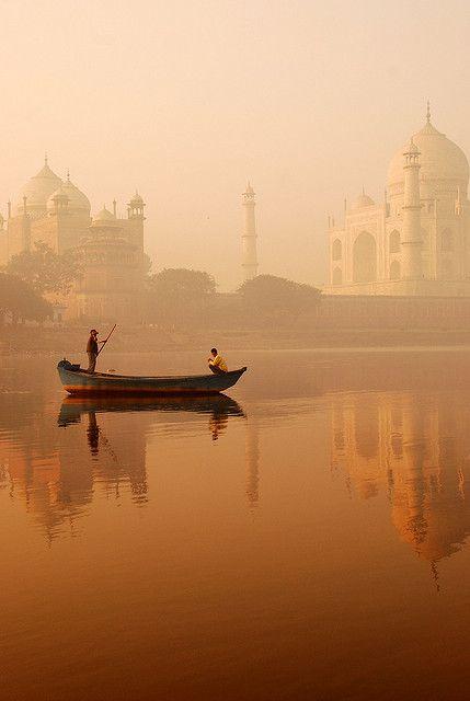 Taj Mahal, River Ganges, Agra, India.