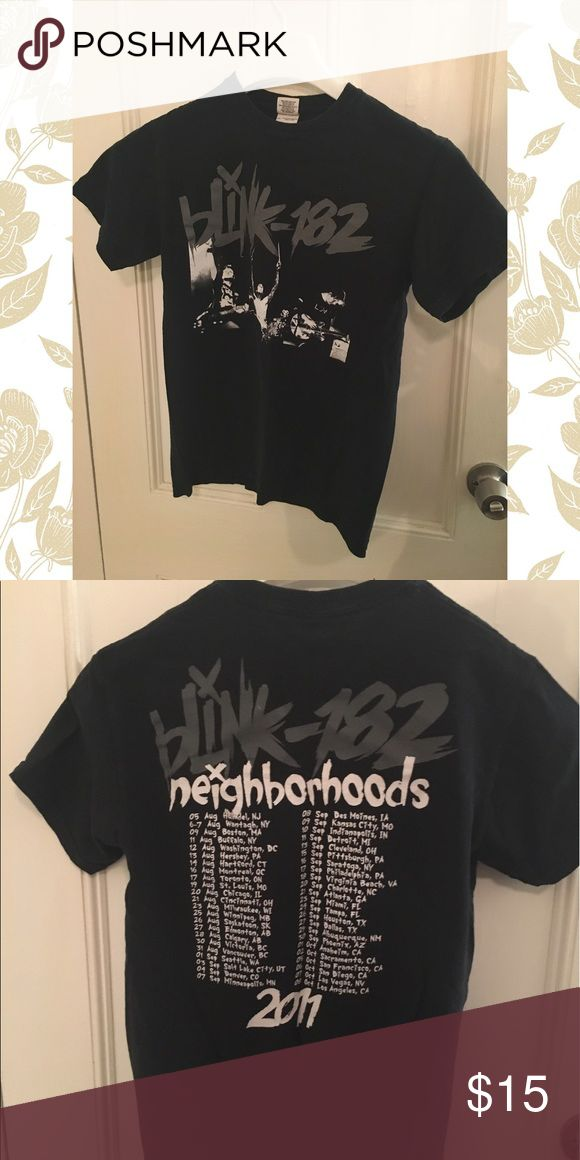 BLINK 182 Neighborhoods 2011 official tour t shirt Lightly worn black concert t shirt from Blink 182's 2011 tour for the album NEIGHBORHOODS. Washed a few times, worn a few times, wanted to cut it up, but never got around to it. It would make a great sleeveless shirt a la Travis Barker 😎 or a good collectible in great condition for any Blink fan! Band photo with Tom DeLonge on the front, tour dates on the back. No alterations made on it, and no rips/tears. Tops Tees - Short Sleeve
