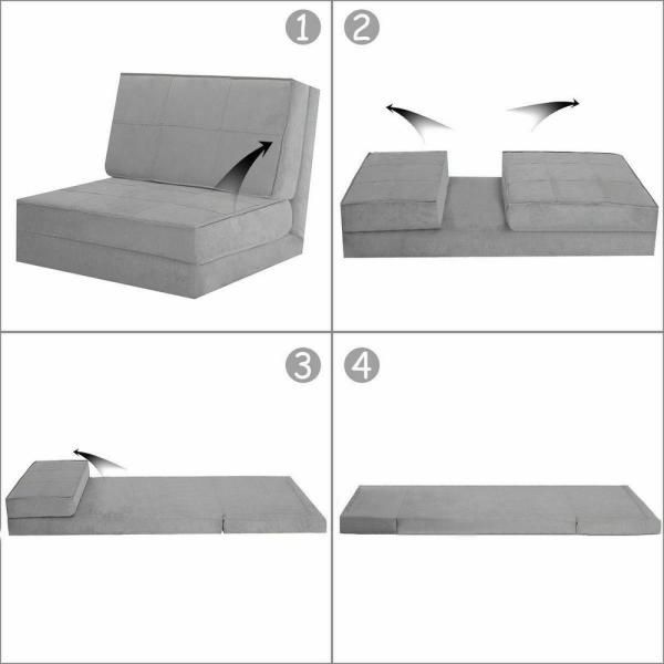 Costway Convertible Fold Down Sofa Chair Flip Out Lounger Sleeper Bed Couch Game Dorm Guest Gray Hw52445gr The Home Depot In 2020 Couch Bed Folding Sofa Sleeper Bed