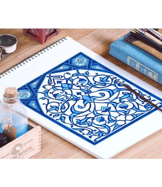 Mosque Blue Tile Design Watercolor Art, Traditional Ottoman Blue Floral Art Home Decor, Turkish Iznik Tile Art Prints and Original Painting by HermesArts