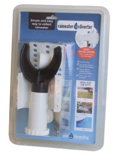 Rainwater Diverter, Dual Fit by Rainwater Diverter. $35.00. Quick and easy to install. Ideal for use with rain barrels, lawns, gardens and pools. Only 1 small hole in your downspout required (hole saw included). Safety overflow to protect gutters from overflowing. Simple d.i.y product. Rainwater Diverter - suits 3-inch to 4-inch downspouts. Simple and easy way to collect rainwater from your downspout. Easy to install, one hole in your downspout (hole saw included 1.7-inch)...