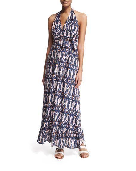 FIGUE Evie Ikat-Print Halter Maxi Dress, Bora Bora Ikt Nvy. #figue #cloth #