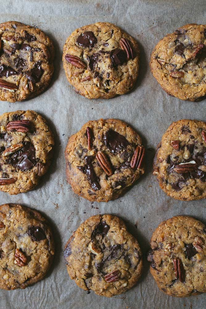 Pecan Chocolate Chip Cookies, small batch makes less than one dozen cookies.