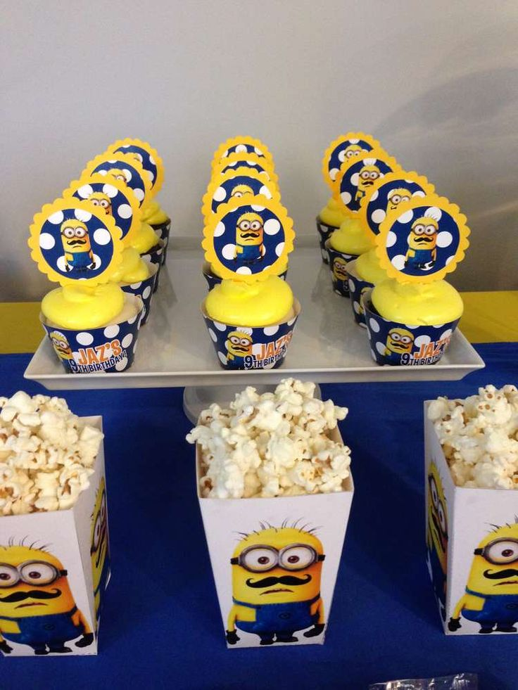 Minion birthday party cupcakes! See more party planning ideas at CatchMyParty.com!