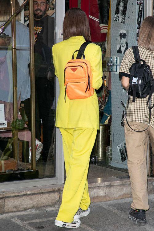7d76e5dda047 Bella Hadid Prada One-Shoulder Backpack Red Fluo Dior Homme Men Yellow Suit  Kim Jones Paris Fashion Week