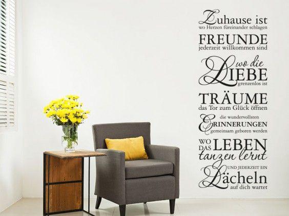 Wandtattoo Zuhause ist als beliebter Wandbanner der in Wohnzimmer oder Flur geniale Akzente setzt. Machen Sie Ihre Wandgestaltung fit für Freunde, Träume und Liebe...