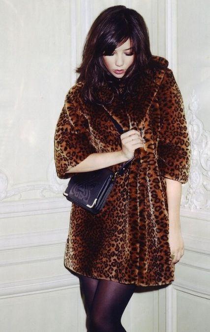 Daisy Lowe in a chic leopard coat.