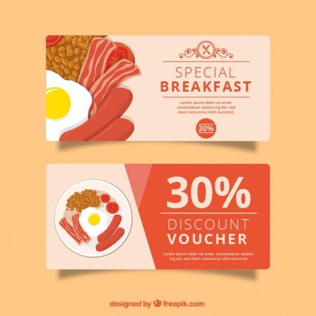 Red discount voucher for restaurant Free Vector