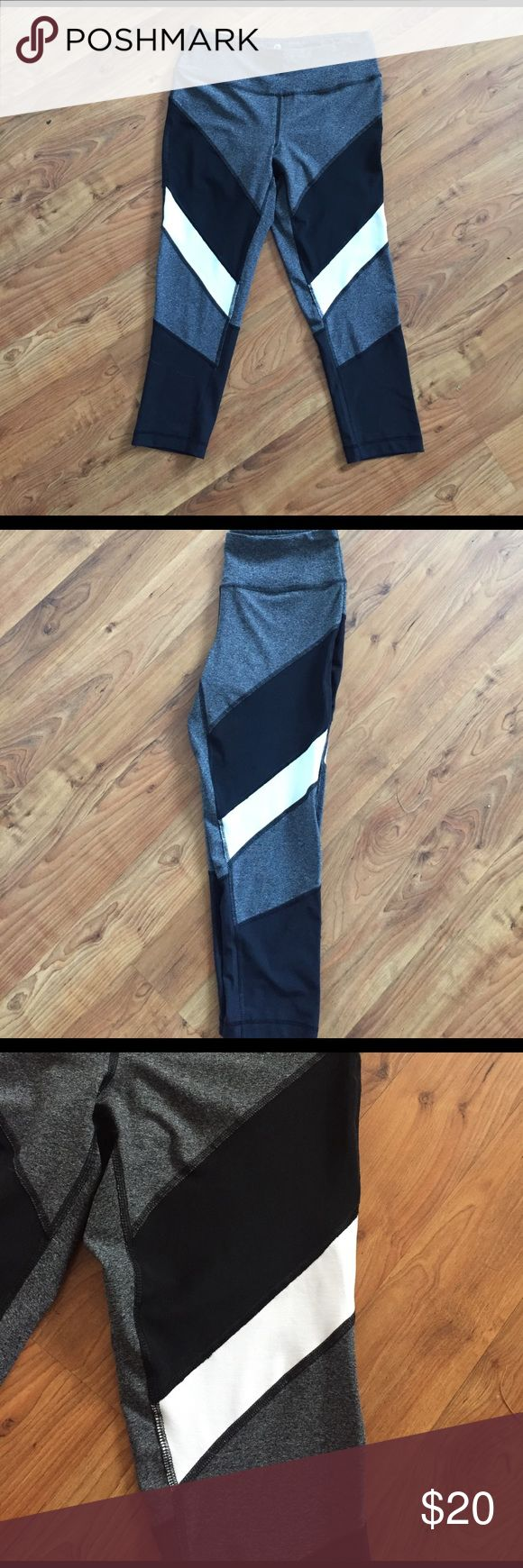 90 Degree workout pants 90 Degree by reflex workout pants! These are super cute and got them as a present and only worn 1 time. They aren't my style so I'm looking to sell! The upper black portion of the pants are mesh! 90 Degree by Reflex Pants Leggings