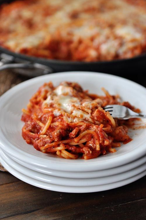 Skillet Baked Spaghetti {One Pot, 30-Minute Meal}