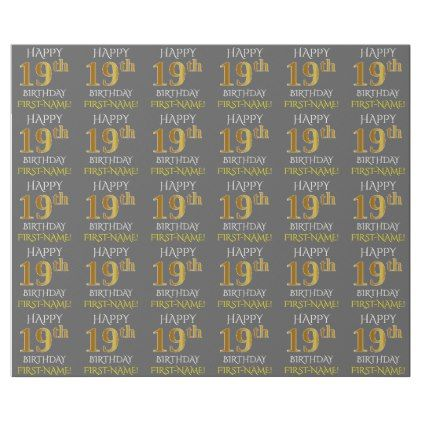 """Gray Faux Gold """"HAPPY 19th BIRTHDAY"""" Wrapping Paper - craft supplies diy custom design supply special"""