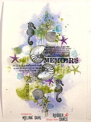* Rubber Dance Blog *: Art Journal Page with Shells and Seahorses