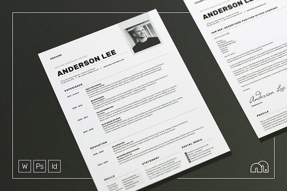 Resume/CV - Anderson by bilmaw creative on @creativemarket Professional printable resume / cv cover letter template examples creative design and great covers, perfect in modern and stylish corporate business design. Modern, simple, clean, minimal and feminine style. Ready to print us letter and a4 layout inspiration to grab some ideas. In psd, indd, docs, ms word file format. #resume #cv #template #professional #word #modern #creative #design