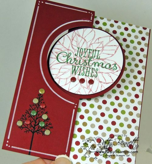 www.PattyStamps.com Joyful Christmas poinsettia and Warmth & Wonder hostess set circle thinlit flip card