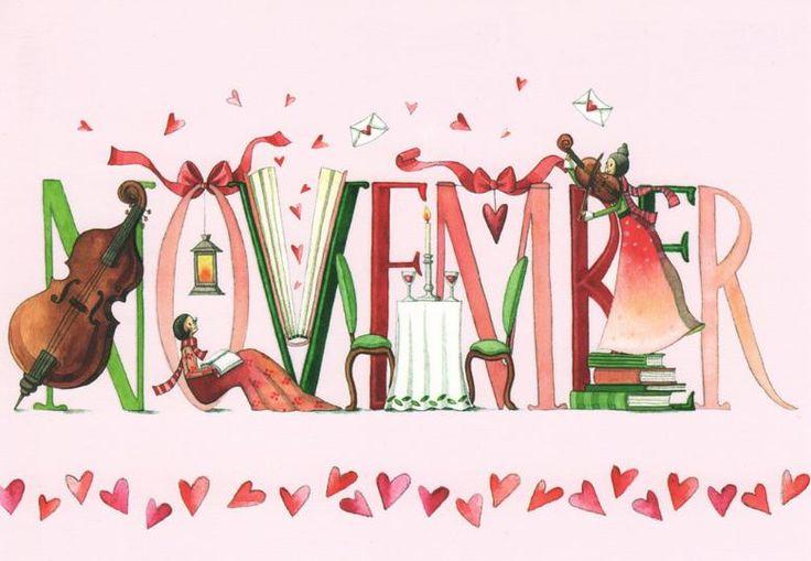 "☂Automne☂ ""Novembre"" illustration de Nina Chen, artiste allemande."