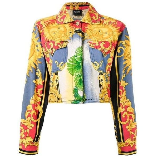 """Preowned 90's Versace """"jeans Couture"""" Sun Baroque Print Jacket ($1,574) ❤ liked on Polyvore featuring outerwear, jackets, beige, long sleeve jacket, baroque jacket, beige jacket, button jacket and white straight jacket"""