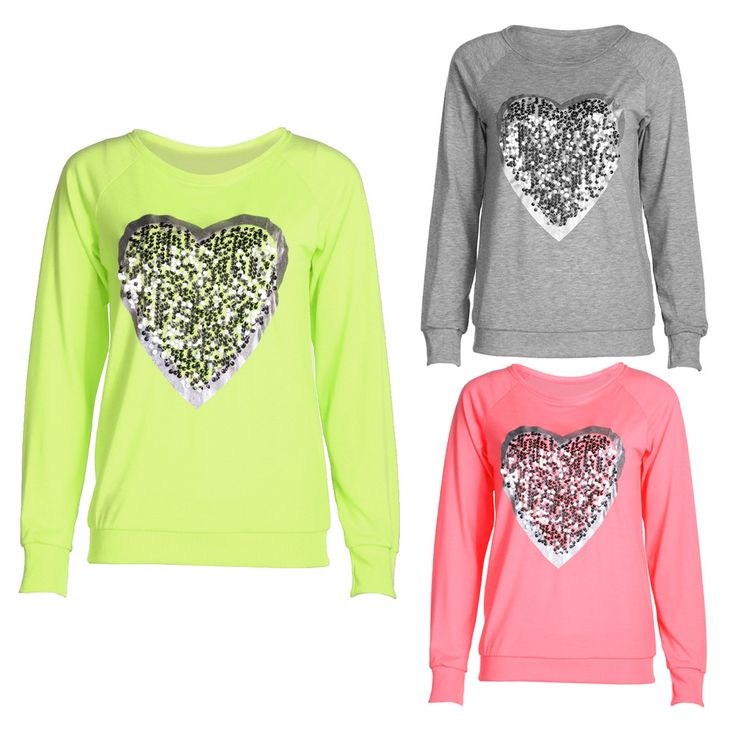 >> Click to Buy << Love Heart Sequins T-shirt Neon Color Round Neck Long Sleeve Slim Casual Cute Women Shirt Pullover Female Clothes #Affiliate