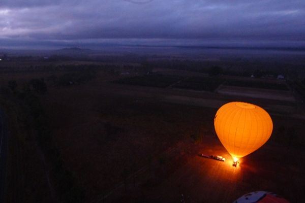 The view from inside my hot air balloon over the Mareeba, Queensland region early in the morning.